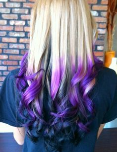 Blonde purple black ombre dip dyed hair