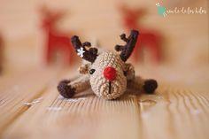 Bebé Rudolph made with Katia Amigurumi Cotton Christmas Decorations, Christmas Ornaments, Holiday Decor, Crochet Christmas Trees, Free Pattern, Merry, Lana, Patterns, Cotton