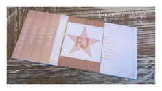 Hollywood themed invitation set in rose gold. Deannamic Designs