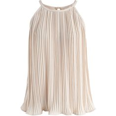 Chicwish Sign of Leisure Pleated Sleeveless Top in Beige (910 UYU) ❤ liked on Polyvore featuring tops, beige, sleeveless tank top, beige tank, pink sleeveless top, pleated sleeveless top and sleeveless tops