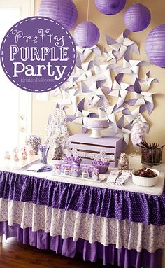 Pretty Purple Party table - such cute ideas... love, love, love!!  could work for any color!!