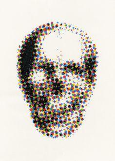 CMYK Skull Giclee Print | Phil Davison Art  Skull Art  London Art Street Art  Tatto Art  Cross Stitch XXX STITCH  Urban Cross Stitch  Phil Davison  Egg Egg Art  Sew  Needle Point