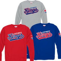 Sacramento Kings Retro Sweep Crew Sweatshirt from Mitchell & Ness is a cotton/polyester (80/20) blend with a retro logo screen printed across the front chest, a small retro logo on the left arm and a Mitchell & Ness logo embroidered on the right arm above the cuff.
