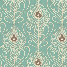 paisley peacock wallpaper: Greta Jade from Villa Nova. I LOVE this, it is so art deco yet fun and colorful but not too colorful. Duck Egg Blue Wallpaper, Blue Roses Wallpaper, Peacock Wallpaper, Paisley Wallpaper, Cream Wallpaper, Bedroom Wallpaper, Textures Patterns, Print Patterns, Peacock Feathers