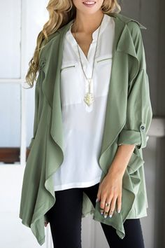 Solid Color Lapel Collar Long Sleeve Trench Coat