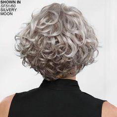Meryl WhisperLite® Wig by Paula Young® - Cheveux - Grey Curly Hair, Short Wavy Hair, Curly Hair Cuts, Curly Hair Styles, Thin Hair, Messy Bob Hairstyles, Short Curly Haircuts, Prom Hairstyles, Updo Hairstyle