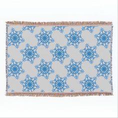 Wintery Blue Snowflake Throw