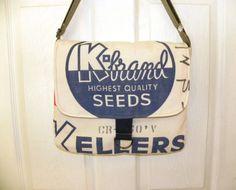 Vintage Kellers brand red clover Seed sack upcycled by LoriesBags