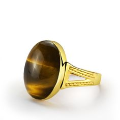 Tiger's Eye Men's Ring 10k Yellow Gold with Natural Brown Stone