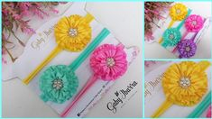 Flower Hair Accessories, Diy Hair Bows, Baby Girl Headbands, Fabric Ribbon, Corsage, Diy Hairstyles, Flowers In Hair, Crochet Necklace, Couture