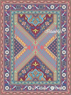 """Today I would like to show you my new dollhouse miniature area rug needlepoint patterns. I called this rug """"Istanbul"""" and there are 3 patte. Needlepoint Pillows, Needlepoint Patterns, Cross Stitch Patterns, Cross Stitching, Cross Stitch Embroidery, Dollhouse Tutorials, Stitch Design, Rug Hooking, Bead Crochet Rope"""