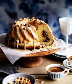 Cinnamon and sour-cherry scroll cake with crunchy coffee glaze recipe | Cake recipe - Gourmet Traveller