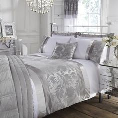 Silver Roma Damask Collection Duvet Cover | for silver guest room