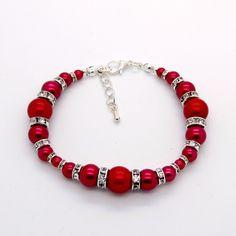 Bright Red 'Graduated Glass Pearl & Rhinestone' bracelet