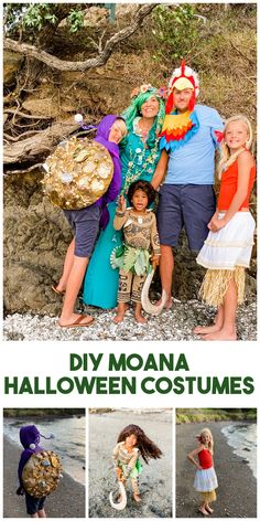 DIY moana Halloween costumes Moana Halloween Costume, Family Halloween Costumes, Group Costumes, Leaf Skirt, Moving To New Zealand, Gold Christmas Ornaments, Painted Shells, Loose Ends, I Dress