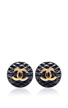 b40b315500b9 Vintage Chanel Black Quilted CC Earrings