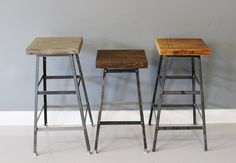 Industrial Chic Bar Stool, Reclaimed Urban Wood Barstool, Industrial Metal Chair