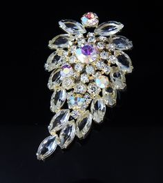 Estate RHINESTONE & Aurora Borealis BROOCH - Layered - MASSIVE Size - from premier-antiques on Ruby Lane
