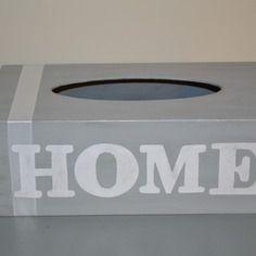 "Boite à mouchoirs personnalisable ""home"" grise Tissue Boxes, Decoration, Home Deco, Decoupage, Creations, Etsy, Crates, Crafts, Sunday"