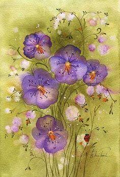 Нежные цветочные акварели Виктории Кирдий... фото #6