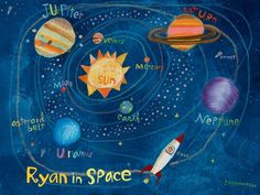 """Solar System"" wall art for children by Donna Ingemanson for Oopsy daisy, Fine Art for Kids $119"