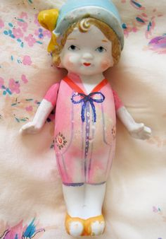 Vintage 1920s Bisque Doll Flapper Girl Blue Cloche by iloveluci, $65.00