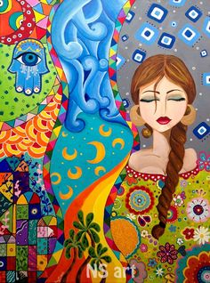 Iraqi Art In her mind colors sway, objects float, calmness within. Find answers within. Middle Eastern Art, Bohemian Tapestry, Wall Tapestry, Arabian Art, Indian Art Paintings, Islamic Art Calligraphy, Naive Art, Egyptian Art, Folk Art
