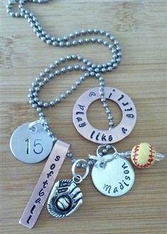 Personalized sports ( softball baseball football basketball hockey ) custom charm necklace - hand stamped