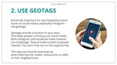 Extremely important for any hospitality brand active on social media, especially Instagram: use geotags. Geotags provide a location to your post. This helps people to find you on social media. Both Instagram and Facebook make massive use of geotags. They provide content to people 'nearby'. You can't miss out on this opportunity. This way your brand could pop-up when they look for hotels, restaurants or cafés in their neighborhood. Your fans will slowly get to know your brand. Don't frustrate…