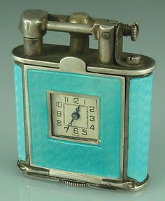 Sarastro sterling and enamel lighter, ca 1930, with integrated watch