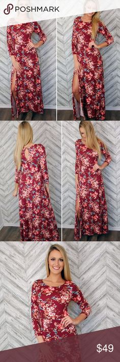 """🌺Small wine colored floral Maxi Dress 🌺 This stunning floral maxi dress is meant for a woman that exudes confidence and sophistication. The side slit gives you a subtle classy yet sexy look that turns all heads as you enter the room. The length is 57"""" bust is 32"""" and waist is 26"""" on the small. Fabric is 96% Polyester, 4% Spandex. Made in USA and the quality is amazing. No trades, price firm. You can dress this up or down ladies! Grab it while you can! Color is wine. This is actual dress…"""