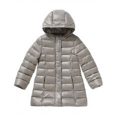 Long patterned padded jacket with visible horizontal seams, standing collar and hood. Slightly flared with double central closure, with zip and hidden snap buttons. Welt pockets and the side panels and semi-lined in fleece. Elastic at cuffs.