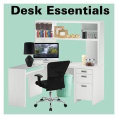 """Desk Essentials"" by zoella36 ❤ liked on Polyvore featuring interior, interiors, interior design, home, home decor, interior decorating, Bush Furniture, Bella Figura Lighting, Kate Spade and Alessi"