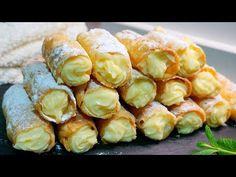 Canutillos rellenos de crema. MUY CRUJIENTES - YouTube Empanadas, Mexican Food Recipes, Dessert Recipes, Eclair Recipe, Dinner Bread, Mini Apple Pies, Serbian Recipes, Quick Easy Dinner, Fancy Desserts
