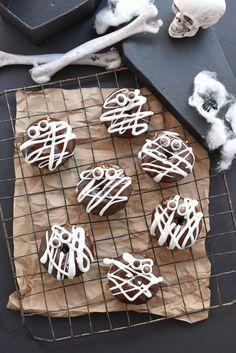 Mummy Pumpkin Quinoa Donuts made with pumpkin puree and Ancient Harvest quinoa flour.