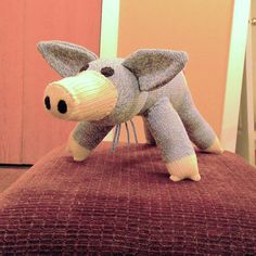 Orville the Blue Sock Pig 18 by monSOCKeys Handmade by monSOCKeys