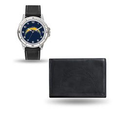 Officially Licensed NFL Team Logo Watch and Wallet Combo Gift Set in Black by Rico - Chargers