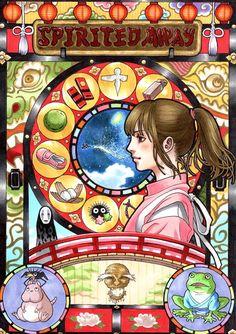Spirited Away Art Noveau Poster by Japanese Illustrator Takumi (http://www.pixiv.net/member.php?id=4873996)