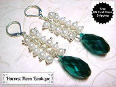 Pearl Wedding Earrings White Pearl Bridal Jewelry Handfasting Wiccan Pagan Wedding Emerald Green Crystal Handmade Bridal Earrings Elegant by AngiePinkal