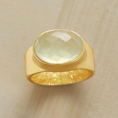PREHNITE RAINBOW RING -- Diamond-faceted prehnite reveals hues of yellow, blue and green as light dances upon its surface. Exclusive in matte 22kt vermeil. Whole sizes 5 to 9.