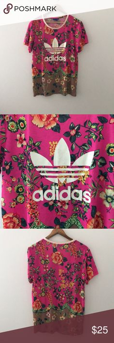 Adidas TShirt Pink floral adidas shirt. Only wear is a slight scuff in the logo adidas Tops Tees - Short Sleeve
