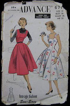 Vintage 1950s PATTERN Advance 6718 Teenage Dress or Jumper / Flared Skirt, Sz 12