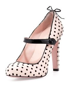 c10ce148ff7 Polka-Dot Leather Mary Jane Pump Light Pink