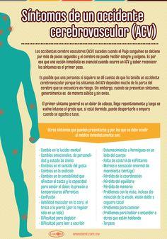 Infografía: Síntomas de un accidente cerebrovascular (#ACV). #salud y #bienestar