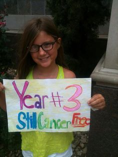 Sandra Young-Richardson: This is Carlee from Texas. She had an Inflammatory Myofibroblastic tumor at the base of her skull attached to her C2 vertebrae when she was 7. She is now a happy, healthy, cancer free 10 year old!  #gogold #endchildhoodcancer