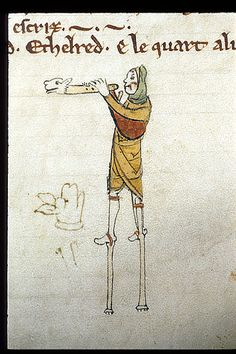 Detail from the Genealogical chronicle of the English Kings Date:	Last quarter of the 13th century A man on stilts playing a pipe with an animal-head.  Origin:	England