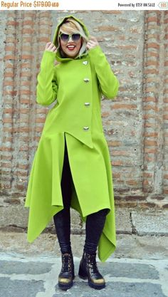 SALE 25% OFF Light Green Asymmetrical Coat / Extravagant Light https://www.etsy.com/listing/476016974/sale-25-off-light-green-asymmetrical?utm_campaign=crowdfire&utm_content=crowdfire&utm_medium=social&utm_source=pinterest
