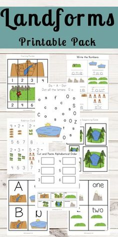 FREE Landforms Worksheets - Kids will have fun learning about landforms as they make their own emergent reader, label, and do math, alphabet, and science worksheets with a fun landform theme. These free printables are perfect for preschool, kindergarten, first grade, 2nd grade, and 3rd grade students.