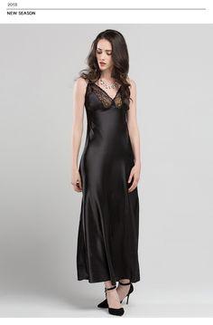 7143e8f9a3 1487.27 руб. 35% СКИДКА|Кружевные пикантные слинг спать платье атласные  шелковые пижамы Для женщин из искусственного шелка длинные Халаты женские  без ...