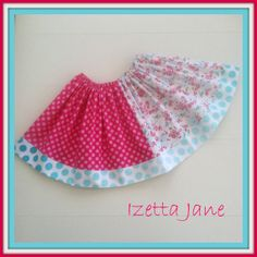 Shabby Birdcage Floral Polkadot Twirl Skirt  Size by IzettaJane, $24.00
